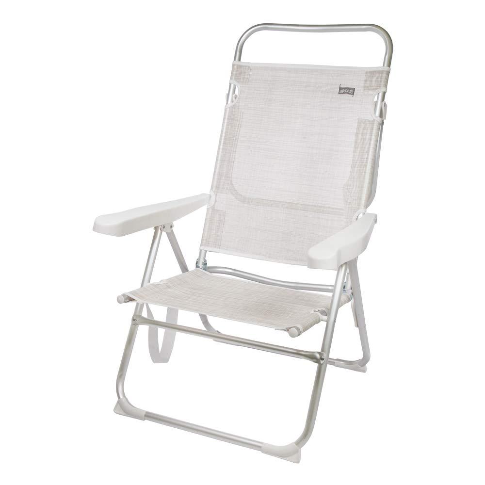 AKTIVE 53976 Silla Plegable multiposición Aluminio Beach, 50 x 64 x 100 cm, Blanco