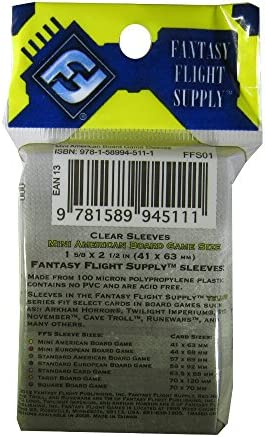 Fantasy Flight Games 500 Mini American Board Game Size Sleeves - 10 Packs + Box - Small Usa - Ffs01 41 X 63