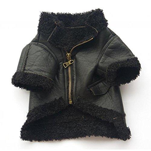 Women's Cozy Viking Costumes (Pet Hoodies HCFKJ PU leather Pet Dog Fashion Leather Zipper Jacket Coat (L, Black))