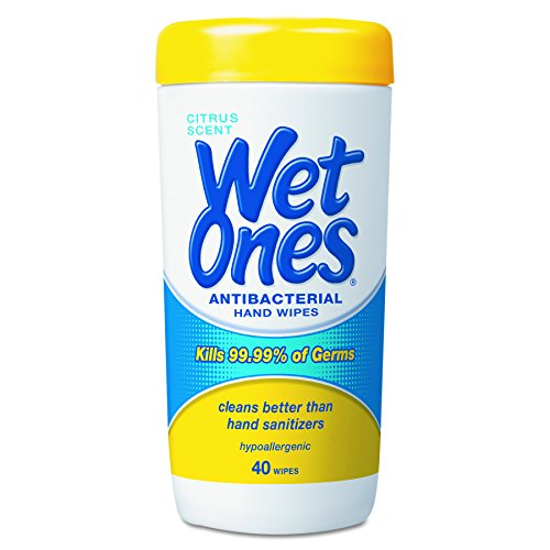 Wet Ones 4672 Antibacterial Moist Towelettes, 5 x 7 1/2, White, 40 Per Canister (Case of 12)