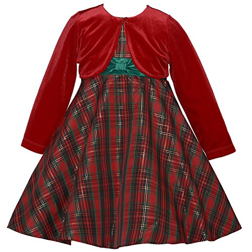 Little Girls Traditional Plaid Holiday Dress with Red Cardigan 14 (Christmas Rare Editions Dress)