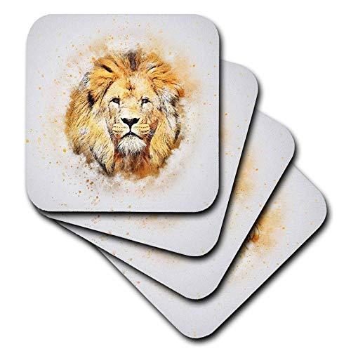 3dRose lens Art by Florene - Watercolor Art - Image of Portrait Painting Of Majestic Lion - set of 4 Ceramic Tile Coasters (cst_300361_3)