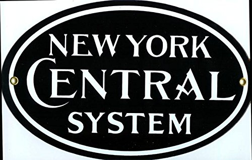 New York Central System Porcelain Sign Railway Railroad Rail R&R Transportation by Train Collectible New York Central Railroad