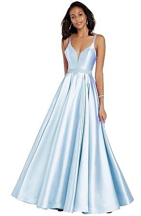 97b399f227e7 Zhongde Women's Spaghetti Strap Beaded Satin Open Back Formal Ball Gown  Floor Length Prom Dress Bady