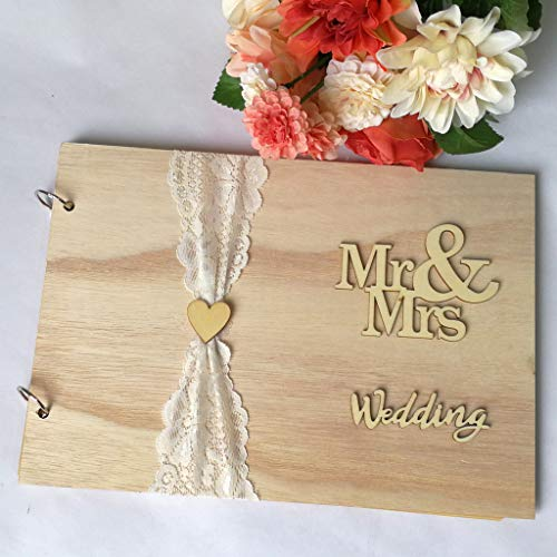 m·kvfa Wooden Ornaments Guest Book Memorable Simple Message Board Sign Book Gift for Wedding Party Wedding Decorations for Reception Wedding Decorations for Tables (C)