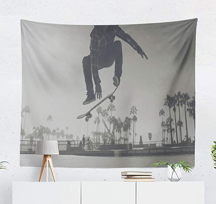 threetothree 50X60 Inches Tapestry Wall Hanging Interior Decorative Skater Boy Skate Park Venice Skateboard California Beach Trick for Bedroom Living Room Tablecloth Dorm