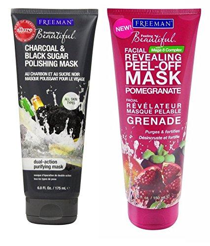 Paquete de la máscara de Freeman: Una Freeman sensación hermosa Facial revela Granada mascarilla Peel-off 6 Oz y un Freeman Facial de carbón y negro de azúcar Polaco máscara de 6 Oz.