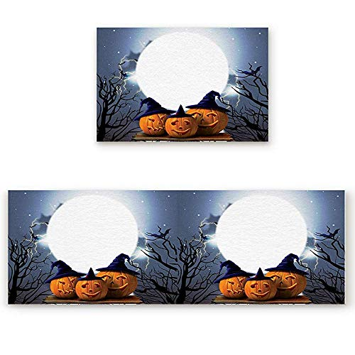 YGUII 2 Piece Kitchen Mat Halloween Pumpkin and Dead Tree Western Festival Non-Slip Rubber Backing Washable Kitchen Rugs Doormat Runner Set, 16X23.6in (40x60cm) and 16X47in (40x120cm)]()