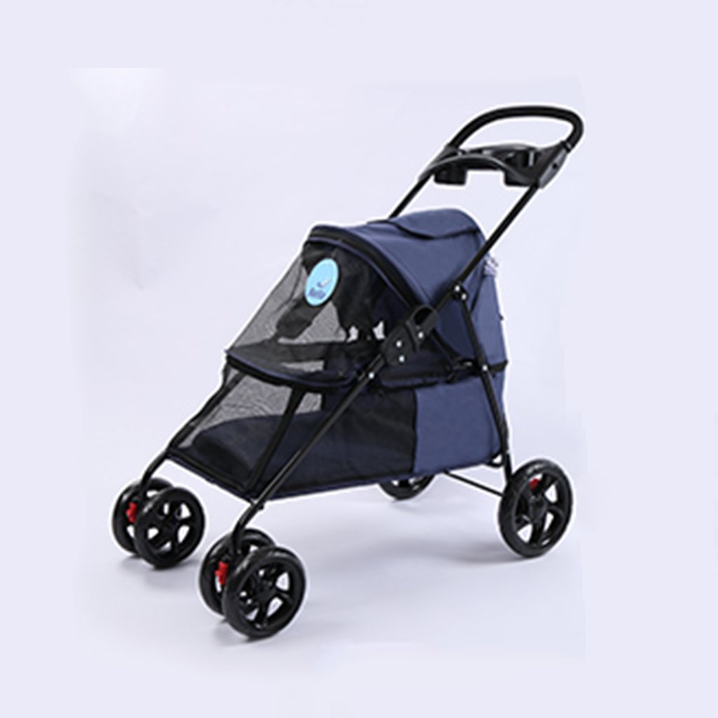bluee Four Wheel Pet Stroller For Cats Dogs Carriage Cart With Congreenible Compartment Walk For Jogger Jogging Travel. Cacoffay
