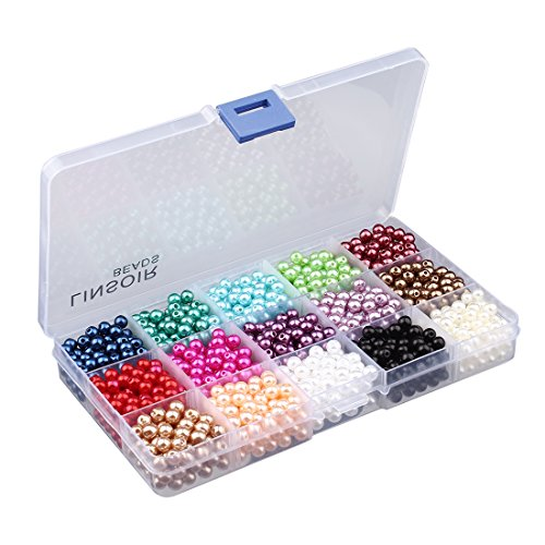 Linsoir Beads 1500 Pcs Tiny Satin Luster Faux Pearl Beads Pearl Jewelry for Women Girl Value Pack 15 Color Assorted 6mm Round Pearls ()
