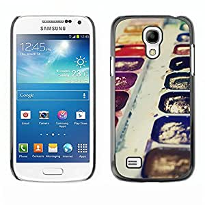 Qstar Arte & diseño plástico duro Fundas Cover Cubre Hard Case Cover para SAMSUNG Galaxy S4 mini VERSION! / i9190 / i9192 ( Watercolors Art Painting Drawing Purple Kit)