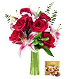 #8: KaBloom Holiday Collection: Season of Love Bouquet of Stargazer Lilies, Red Roses and Seasonal Greens without Vase and One Box of Lindt Chocolates, 12 Count