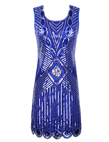 KAYAMIYA Women's 1920S Sequined Beaded Back Deep V Gatsby Flapper Prom M Blue (The Roaring 20s Fashion)