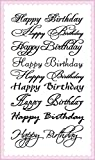 Happy Birthday Calligraphy Decorative Writings // FLONZ Clear Stamps Sheet 4'x7' Greetings Wishes