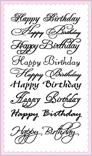 Happy Birthday Calligraphy Decorative Writings // FLONZ Clear Stamps Sheet 4