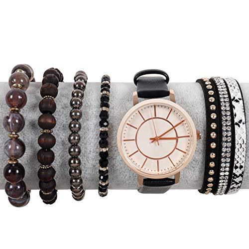 Women's Black Watch Wrist Bracelet 7 in 1 Set Casual Dress Analog Quartz PU Leather Bangle Cuff Watch Wrap Wristband Stone Bead Bracelets Jewelry for Ladies, Girls Gifts from Makersland