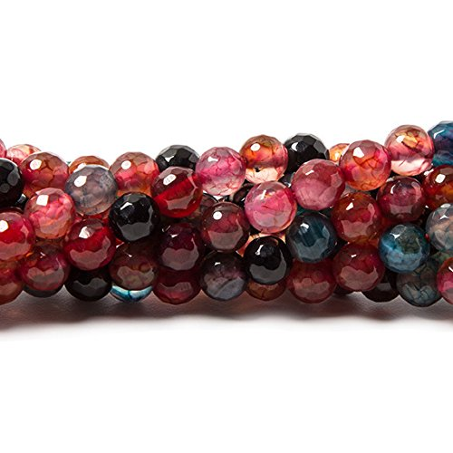 6mm Berry Banded Agate faceted round beads 14.75 inch 63 pieces