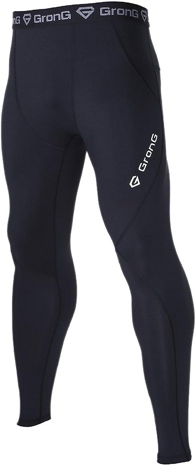 (グロング) GronG スポーツタイツ メンズ ロング レギンス UVカット UPF50+ コンプレッションウェア アンダーウェア オールシーズン