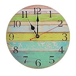 Vintage Colorful Wall Clock 12 Inch Wooden Stripe Round Clock Non-ticking Silent Decorative Clock- Ocean Stripe