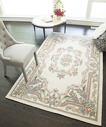 - Rugs America New Aubusson Area Rug, 4-Feet by 6-Feet, Ivory