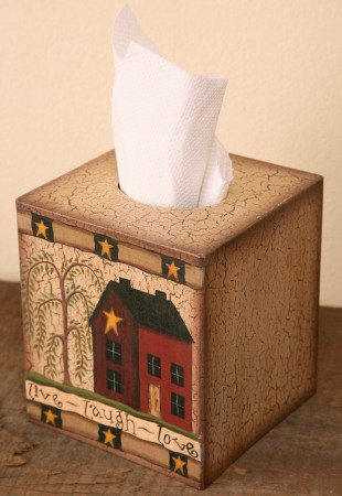 Tissue Box Cover - Primitive House / Home