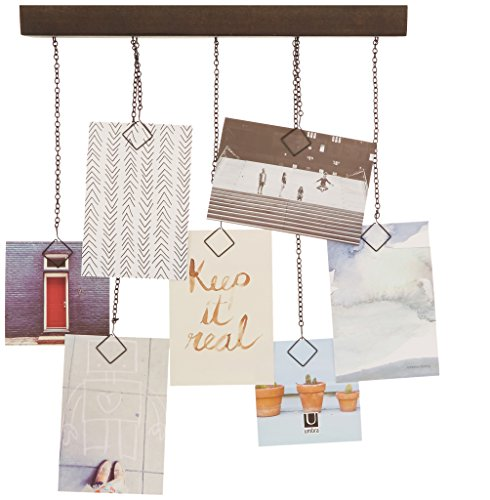 Cascade Photo Display Aged Walnut - A non-traditional alternative to the classic frame A wall mounted wooden shelf with chains. Chains at varying lengths give photos, memos, cards and notes a waterfall effect Easy to load and replace - picture-frames, bedroom-decor, bedroom - 51KxncBhAlL -