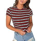 LIULIULIU✦Women O-Neck Striped Short Sleeve Patchwork Tops Blouse T-Shirt