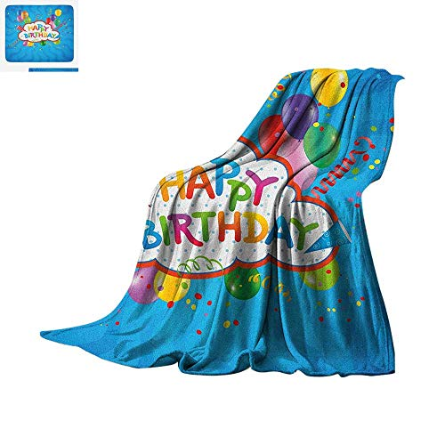 Birthday Super Soft Lightweight Blanket Wavy Blue Colored Backdrop with Greeting Text Party Hats Confetti Best Wishes Custom Design Cozy Flannel Blanket 62