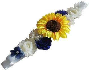 FANFAN Sunflower Girl Belt Wedding Floral Sash Baby Showers Belt Y057