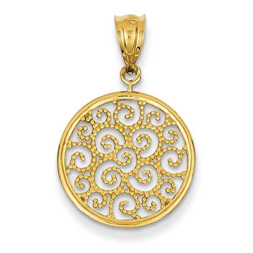 14Ct jewelryWeb pendentif en filigrane, collier environ