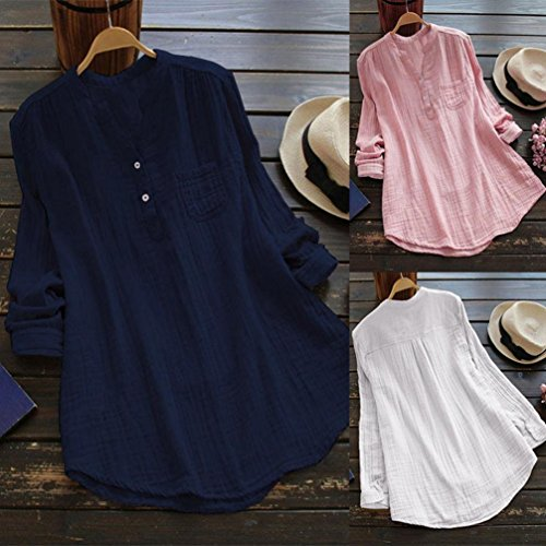 Rambling New Women Stand Collar Long Sleeve Casual Cotton Loose Soft Tunic Tops T Shirt Blouse Plus Size Navy by Rambling (Image #3)
