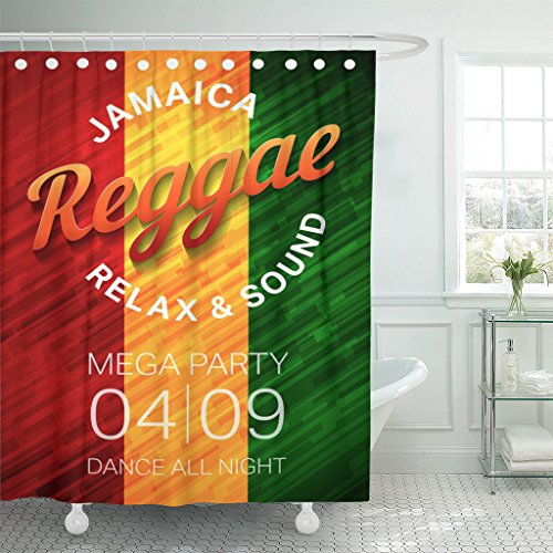 Emvency Shower Curtain Colorful Reggae Music Party Rastafarian Dance Club Conce Green Waterproof Polyester Fabric 72 x 78 inches Set with Hooks by Emvency