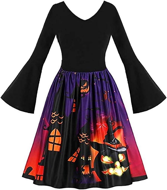 Sannysis sukienka damska, rockabilly, elegancka sukienka damska, rękawy w stylu vintage, wieczorowa, na imprezę, Halloween, karnawał, odświętna, letnia sukienka w stylu retro: Odzież