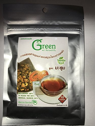 3 X Dr.Green : 3in1 Mulberry Tea with Bael Herbal Teamix 75g (10 Sachets) Product of Thailand by C.ARUN