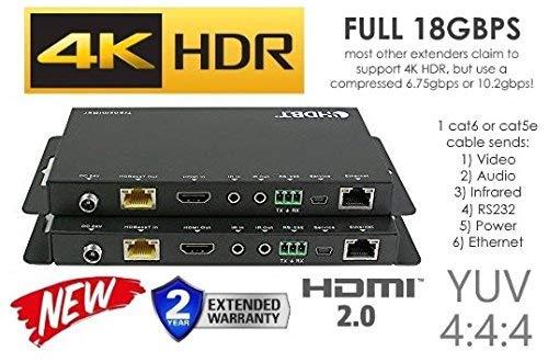 4K HDR HDbaseT 330ft Long Range HDMI Extender Kit 100m ETHERNET 18GBPS Single CAT5e CAT6 CAT7 2.0B 4K @ 60hz UltraHD YUV 4:4:4 Uncompressed Transmitter Receiver IR RS232 HDCP2.2 CONTROL4 Savant