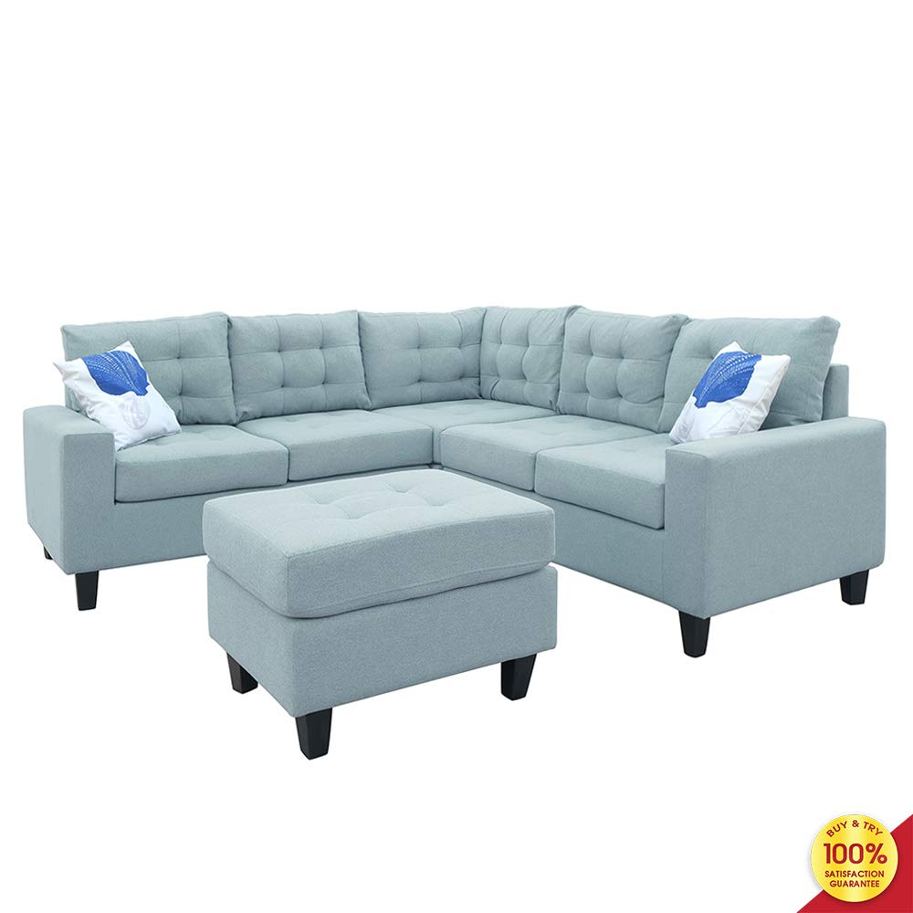 Sofa Sectional Set, Symmetrical Couch Linen-Like Left or Right Hand with Ottoman, 4 Pieces for 5 Seaters, Living Room Furniture, Blue by MOOSENG