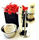 Price Of Braun Series 9 - MENS SHAVING SET VINTAGE CAMEL BONE STRAIGHT RAZOR SHAVING SET WET SHAVING SET- BRUSH,CUP,DOVO PASTE, BAG