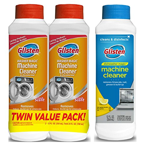 Glisten Washer Magic Washing Machine Cleaner and Deodorizer 2-Pack and Dishwasher Magic Machine Cleaner and Disinfectant