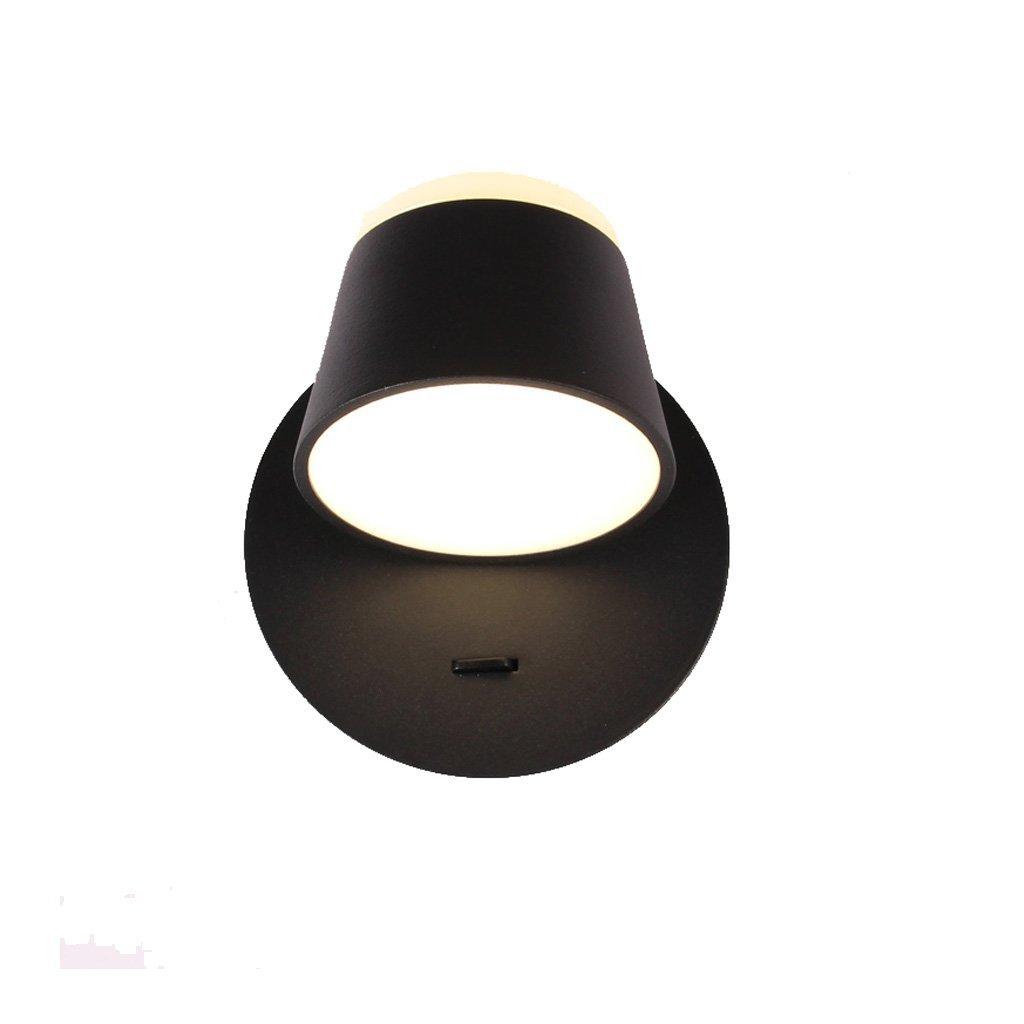 Europäische moderne minimalistische Schlafzimmer Nacht LED Leselampe, dimmen 350 ° Einstellwinkel Multifunktions-Nachtlicht (Farbe   schwarz-12cm)