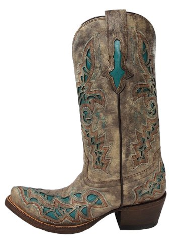 Lucchese Womens Handcrafted 1883 Desert Plato Turquoise Inlay Cowgirl Boot Snip Desert i324n4DtR6