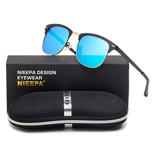 Semi Rimless Polarized Sunglasses Classic Stainless Steel Frame Wayfarer Sun Glasses Men Women Retro Brand Designer Half Frame Rivet Glasses (Blue Lens/Black Stainless Steel - Men Glasses Designer Sun For
