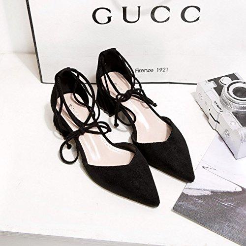 nero bocca del scarpe con profonda molla scarpe cavo luce punta raso irregolare poco 34 singola di selvatici Bocca la xTz6n6