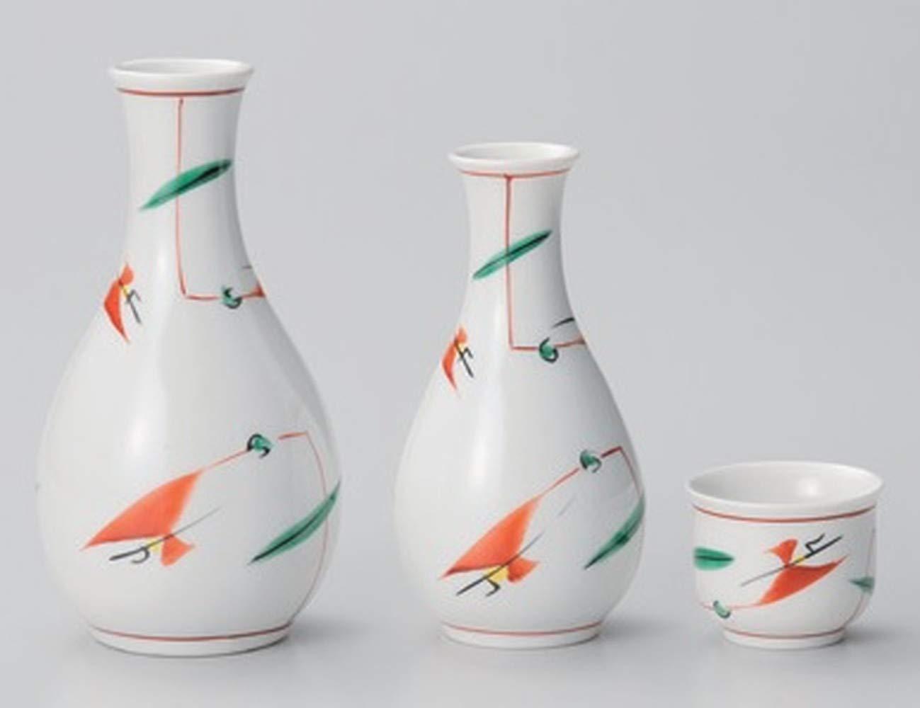 Ceramic Porcelain Sake Set Handcraft Traditional Pottery Made in Japan 2PC Sake Bottles and 1PC Sake Cup