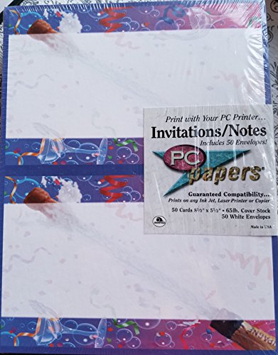 Invitations/Notes Champagne Toast PC papers 50 cards/50envelopes 8 1/2
