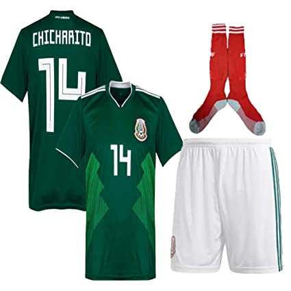 brand new 7fedc 6d1d1 Mexico Lozano Chicharito Soccer Jersey Kit : Shirt, Short, Socks, Bag 2 to  13 Years Old