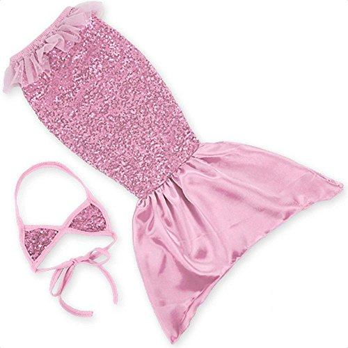 Kids 2 Pcs Mermaid Tail Swimwear Swimsuit Bikini Bathing Suit with Scaly Print, 04# Pink, 1-2 Years Old ()