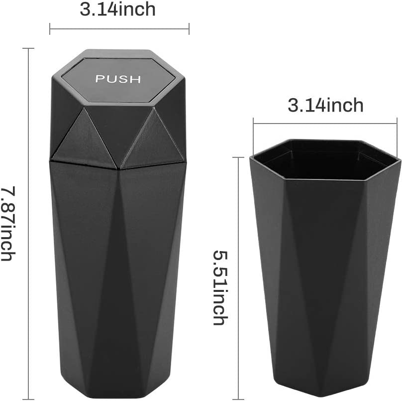 Kitchen Mini Garbage Bin for Automotive Car Gold 1PCS Leakproof Vehicle Trash Bin Home Bedroom New Car Dustbin Diamond Design OUDEW Car Trash Can with Lid Office