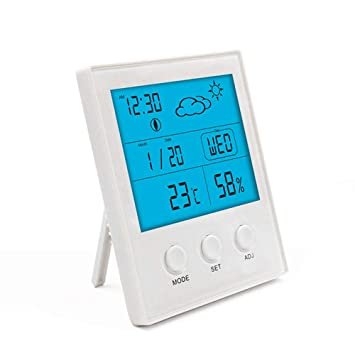 XLWDJ Termómetro Higrometro Digital Interior/Termohigrómetro Medido para Habitacion Temperatura Y Humedad Monitor con Retroiluminación,Reloj Despertador ...