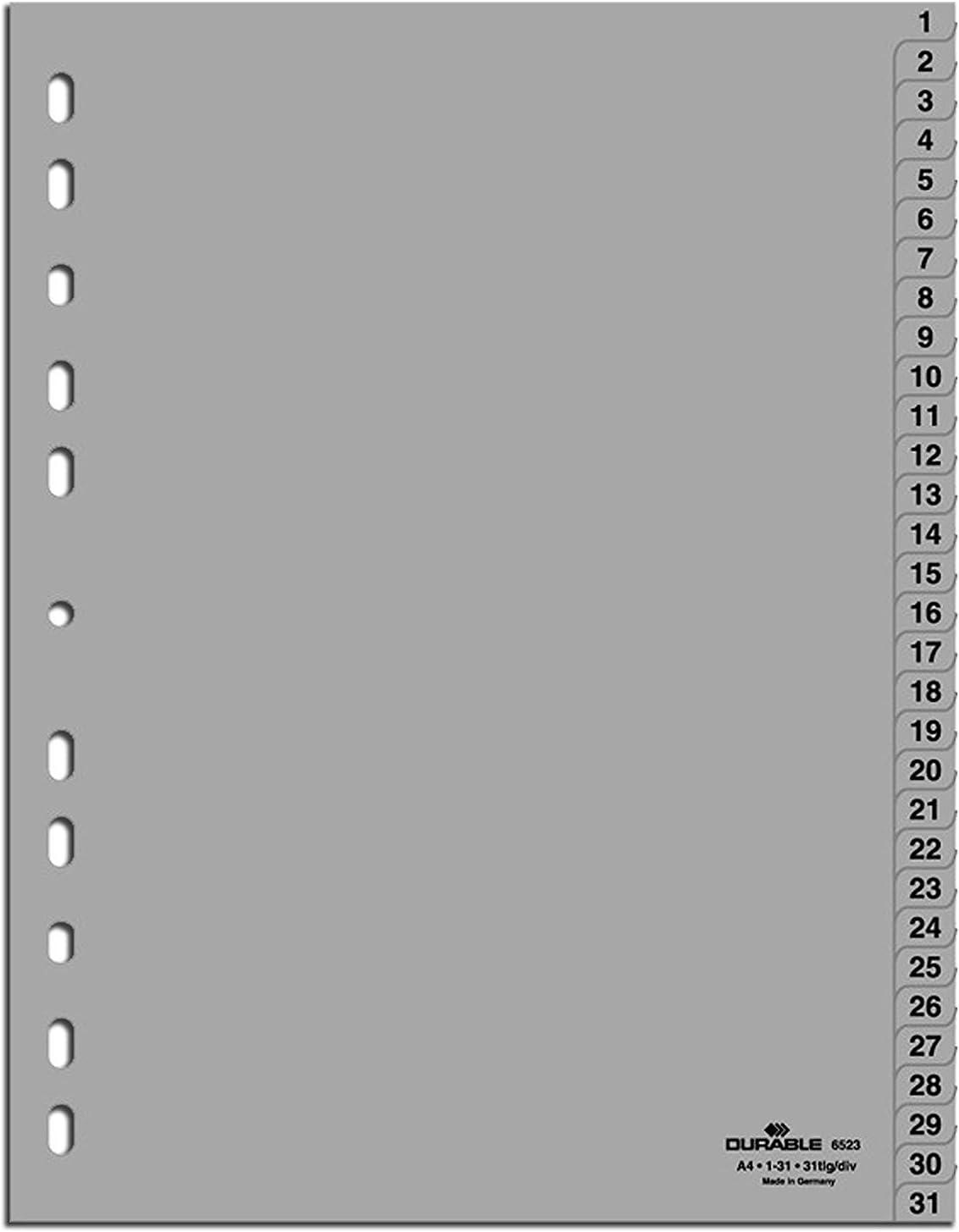 20 Unit/é s Durable 616302 Intercalaires de num/éro Blanc A4 avec onglets imprim/és,Index 1-20, Perforation universelle,Polypropyl/ènes