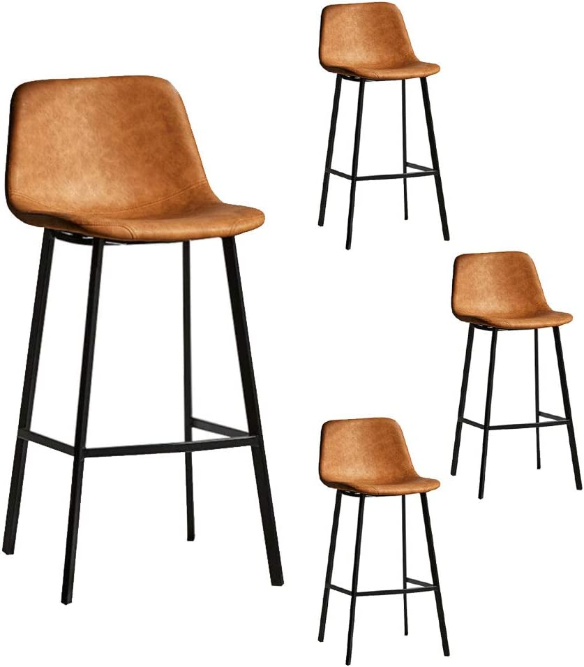 OUG Creative Wrought Iron High Stool Bar Stool Comfortable Breathable PU  Leather Material Suitable for Counter Kitchen Dining Room Seat Height 9cm  ...